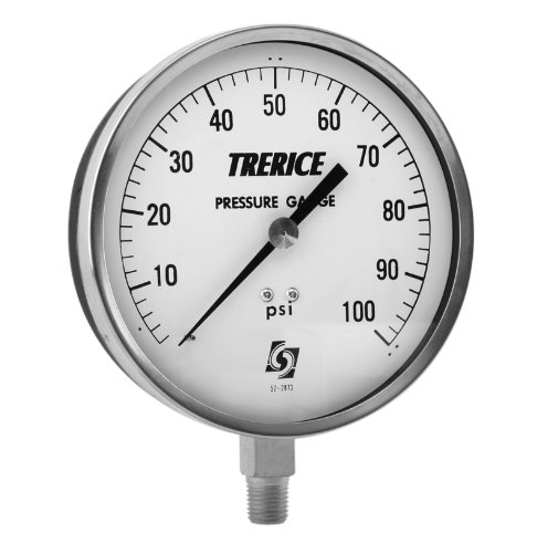 Trerice 600CB4502LA050 Contractor Gauge, 4.5' dial, 30' Hg to 100 psi, 1/4' NPT Brass Connection, Lower Mount 4.5 dial 30 Hg to 100 psi 1/4 NPT Brass Connection