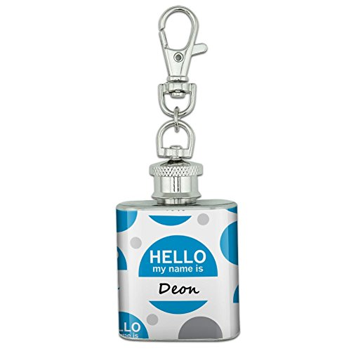 Stainless Steel 1oz Mini Flask Key Chain - Hello My Name Is De-Dy Deon Hello My Name Is