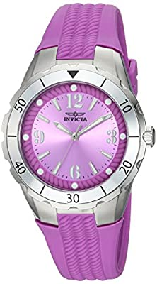 Invicta Women's 'Angel' Quartz Stainless Steel and Polyurethane Casual Watch, Color:Purple (Model: 24123)
