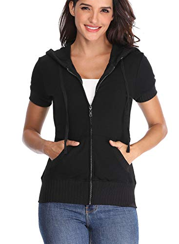 MISS MOLY Women's Short Sleeve Full Zip Up Hoodie Cotton Sweatshirt Black XL