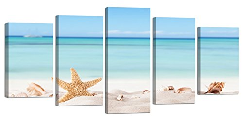 Ardemy Canvas Wall Art Painting 5 Pieces Blue Ocean Tropical Beach Seashell Framed Pictures, Modern Coastal Large Size Framed Ready to Hang for Living Room Bedroom Kitchen Home Office Decor