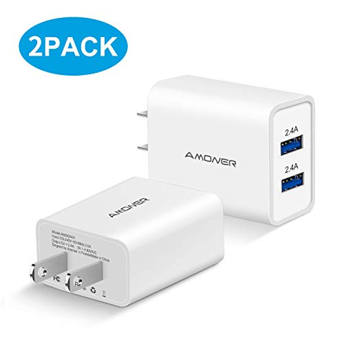 (Amoner Wall Charger, 2Pack 24W 2-Port USB Plug Cube Portable Travel Wall Charger Plug for iPhone Xs/XS Max/XR/X/8/7/6/Plus, iPad Pro/Air 2/Mini 2, Galaxy9/8/7, Note9/8, LG, Nexus and More (White))