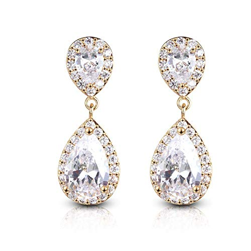Pear Shaped Crystal - SUMMER LOVE Women's Pear-Shaped Cubic Zirconia Crystal Teardrop Wedding Dangle Earrings for Brides Fashion Jewelry (White Plated 18K Gold)