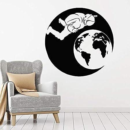 Divertido creativo astronauta etiqueta de la pared programa espacial astronauta planeta creativo vinilo decoración | Decoración de arte de fondo de TV
