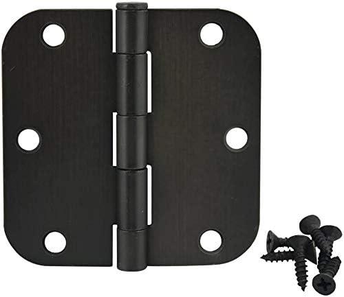 12 Pack Cosmas Oil Rubbed Bronze Door Hinge 3.5 Inch x 3.5 Inch with 5//8 Inch Radius Corners