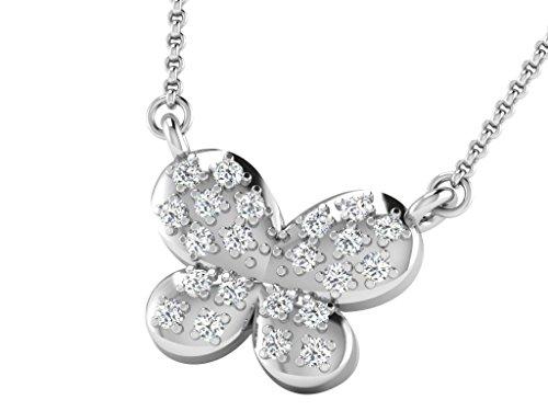 Libertini Colliar argent 925 plaque or Rose serti de Diamant en forme de Papi...