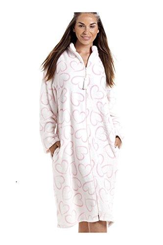 in bianca Vestaglia cuori zip pile a morbidissimo con chiusura bianca rosa wqTqSU