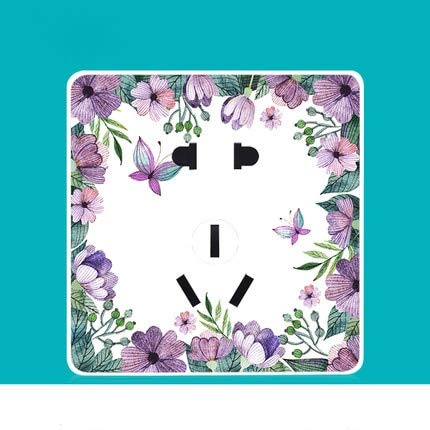 Five hole socket   220V 86 Switch Socket Panel Household Personality Art Creative Switch Purple Flowers Series PC 220V 10A  (color  Three Gang one Way, Voltage  220V)