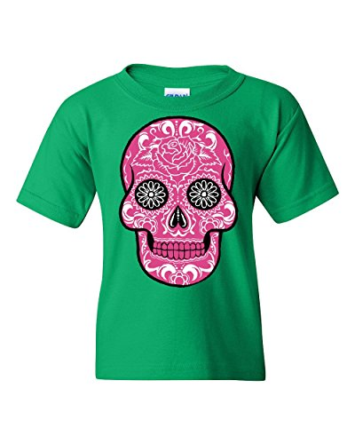 (Pink Sugar Skull with Roses Youth T-Shirt Day of The Dead Tee Green)