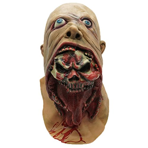 Bloody Zombie Mask Melting Face Adult Latex Costume Walking Dead Halloween (Zombie Halloween Faces)