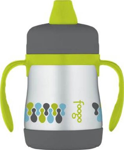 THERMOS FOOGO Vacuum Insulated Stainless Steel 7-Ounce Soft Spout Sippy Cup with Handles, Tripoli Pattern