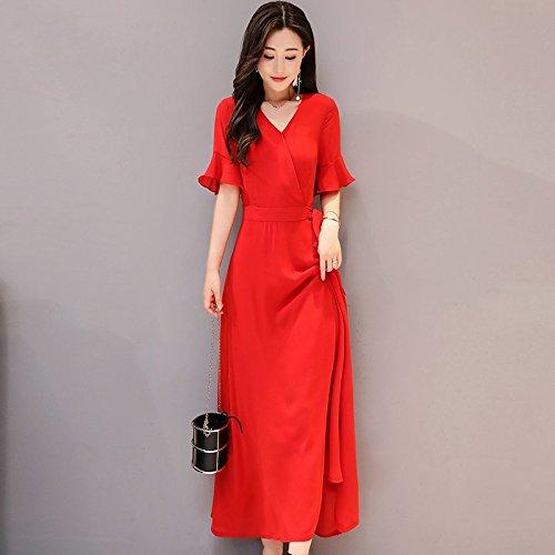 MiGMV?Robe de Mousseline Robes Femme Xia Zhong Long col V Slim Argent temprament Jupe Pure Color Longue Jupe au Genou,3XL,de Gueules