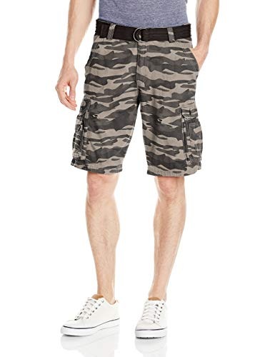 Lee Men's Big and Tall New Belted Wyoming Cargo Short, Carbon Camo, - Cargo Dress Belted