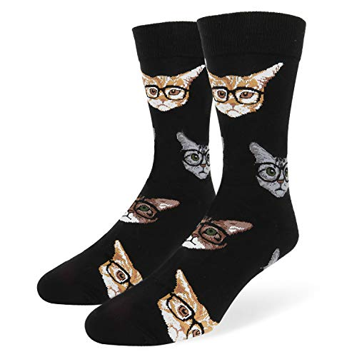 Men's Novelty Funny Cat in Glasses Crew Socks Kitten Crazy Colorful Kittenster (Glasses Kitten)
