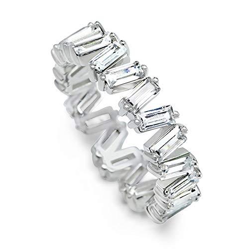 (MOJ 9ct REAL White Gold 4X2 Baguette Full Eternity Stylish Wedding Band Ring ALL SZ)