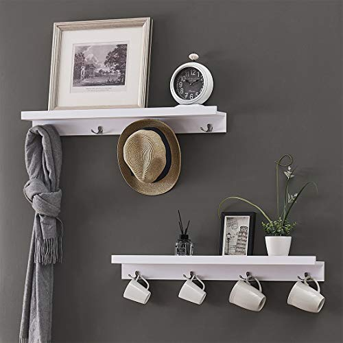 O&K FURNITURE Wall Mounted Coat Hooks Rack with Shelf for Entryway, Kitchen, Bathroom(White, 31.5 Inches Each, Set of 2)