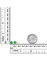 1,54 ct ronda 6 mm Verde Nano Esmeralda 14 K Amarillo Oro Stud arete