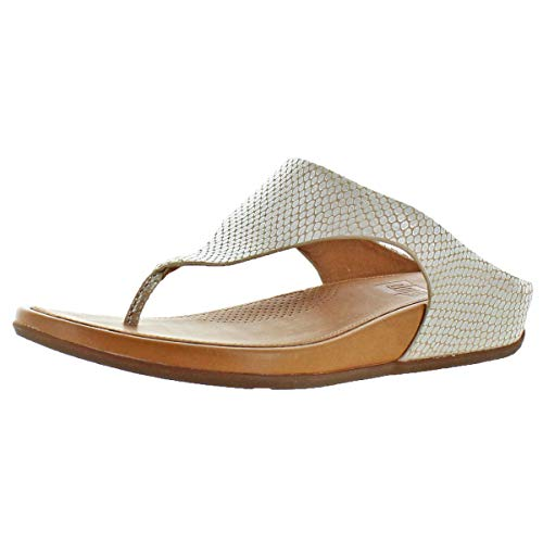 FitFlop Womens Banda Toepost Slide On Sandal Shoes, Silver Snake, US 10 ()
