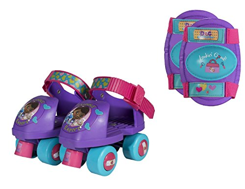 Doc McStuffins Kids Rollerskate, Junior Size 6-12 with Knee Pads