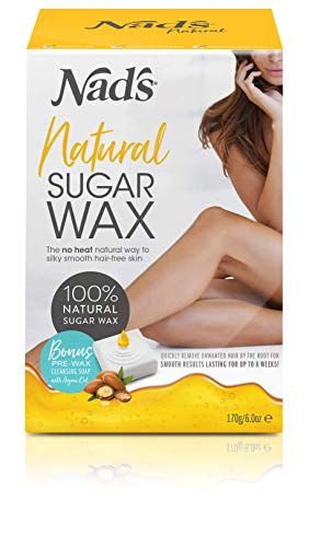 NAD'S Sugar Wax Hair removal waxing Kit for Face, Body, Back, Leg, Bikini Zone, Arm, Underarm Area, Women + men (Best Sugar Wax Brand)
