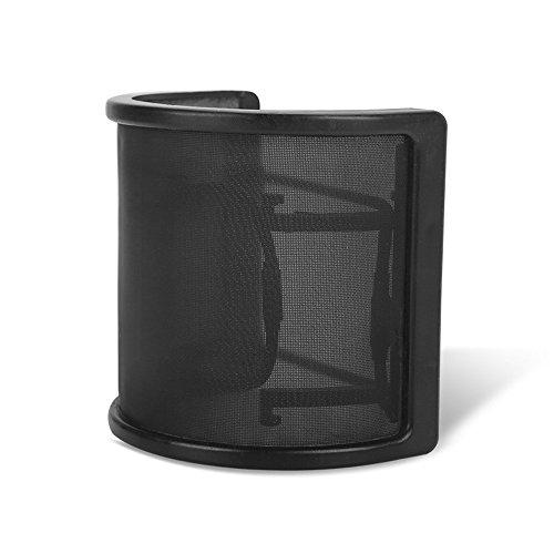 WETECH Microphone Pop Filter, U Shape Mask Metal Mesh and Foam Double Layer Mic Windscreen for Studio Microphone