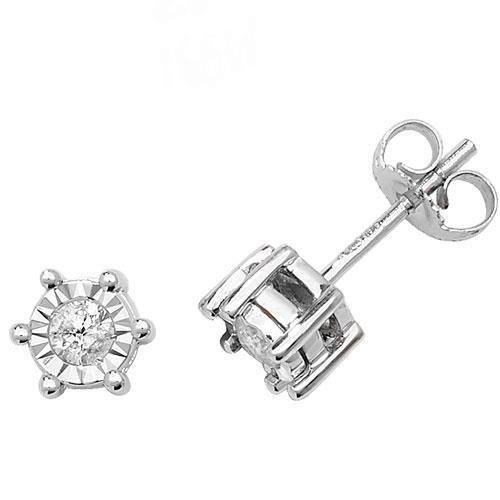 Diamant Boucles d'oreilles clous Illusion Plaque Or Blanc 9Carats H I22D 0,25carats