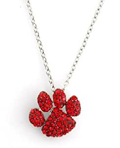 Paw Print Bright Red Pave Crystal Pendant Necklace