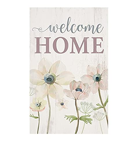 P GRAHAM DUNN Welcome Home Watercolor Floral Whitewash 10.5 x 17 Wood Pallet Wall Plaque Sign