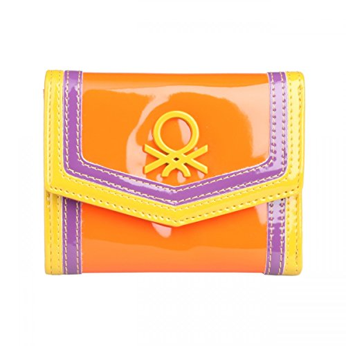 benetton-wallet-orange-compartments-for-documents-coin-holder-imported-from-italy