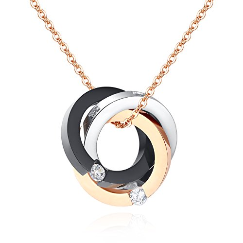 TOUGHARD Stainless Steel Three Tone Triple Cross Circle CZ Pendant Necklace, Delicate Jewelry for Girls Women (Rose Gold/Black/Silver) (Pendant Circle Tone)