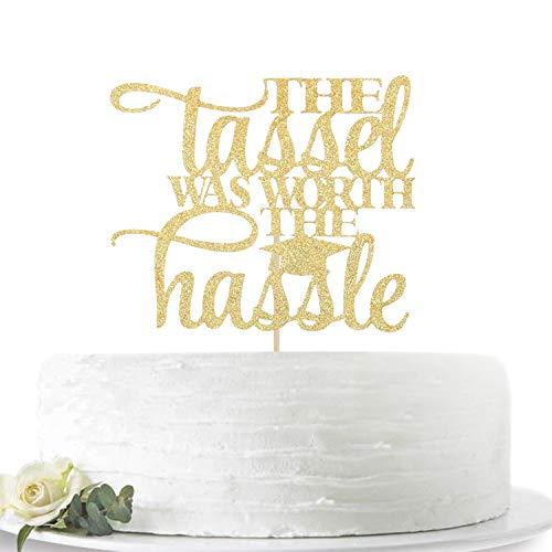 Graduation Cake Topper (Gold Glitter The Tassel Was Worth The Hassle 2020 Graduation Cake Topper-Congrats Grad Party Decorations Supplies-High School Graduation, College Graduate Cake)
