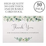 Funeral Thank You Cards with Envelopes. 50 Pack