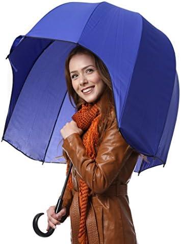 Strong Bubble Umbrella Blue Dome Umbrella Windproof Dome Bubble Umbrella Sturdy Umbrella CloudTen Helmet Shaped Umbrella