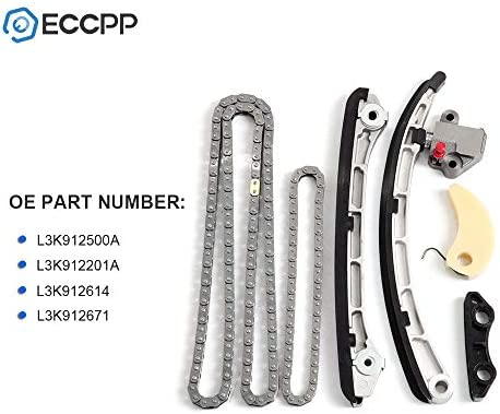 OCPTY Timing Chain Kit Tensioner Oil Pump Chain fits for Mazda Speed 3 6 CX-7 2.3L L4 16v Turbo MZR L3K912500A