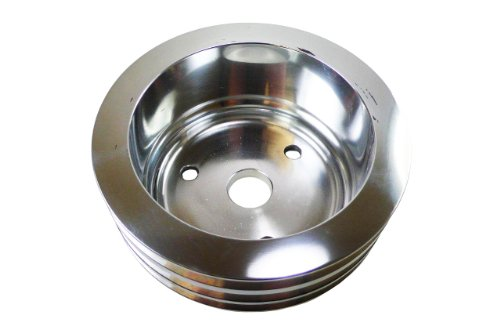 Racer Performance Chevy Small Block Polished Aluminum Crank Pully - 3 Groove (LWP)