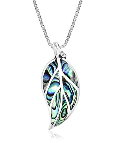 Honolulu Jewelry Company Sterling Silver Abalone Paua Shell Leaf Necklace Pendant with 18