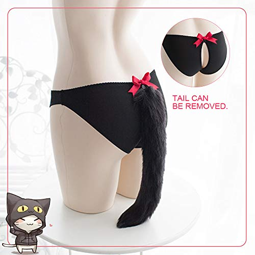 a755ac29b Amazon.com: YOMORIO Cute Cat Tail Panties Womens Anime Cosplay Underwear  Faux Fox Tail Lingerie Fancy Costume (Black): Clothing