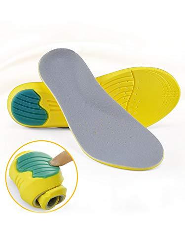 Greenour Arch Support Insoles Memory Foam Work Boots Sports Shoe Insert Shock Absorption & Cushioning from Flat Feet Running Camping, Men 8-12 / Women ()