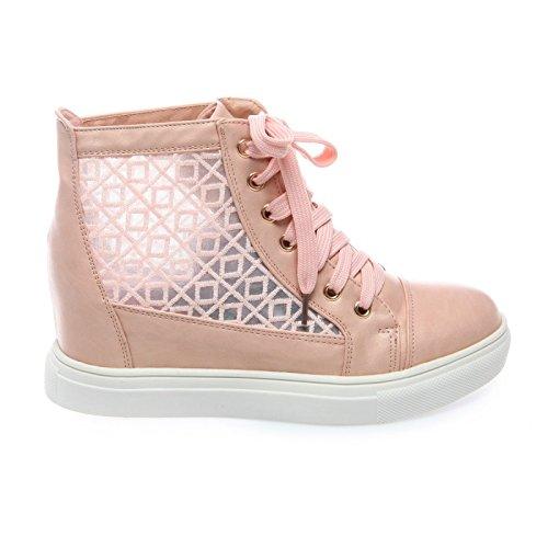 Modeuse diseño zapatillas cuero La de Rosa compensadas efecto materiales rosa 2 transparente; y de dY00zrn