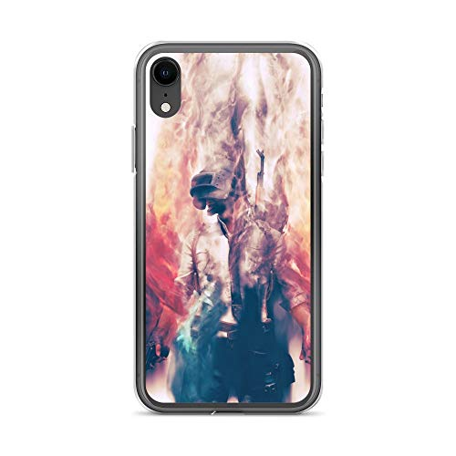iPhone XR Case Anti-Scratch Gamer Video Game Transparent Cases Cover Pubg Smoke and Fire Gaming Computer Crystal Clear