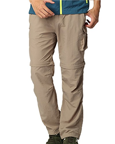 Men's Outdoor Quick Dry Convertible Lightweight Hiking Fishing Zip Off Cargo Pant #225,Khaki, M 34