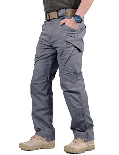 TACVASEN Men's Tactical Urban Ops Tactical Pants Climbing Hiking Hunting Cargo Pants Trousers Gray