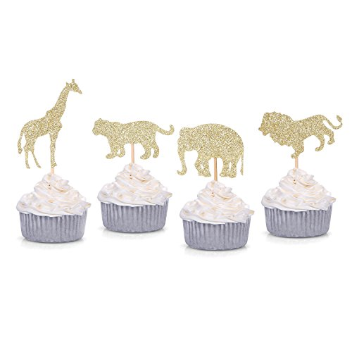 (24 Counts Gold Glitter Jungle Safari Animal Cupcake toppers Elephant Giraffe Lion Tiger for Baby Shower Birthday Party)