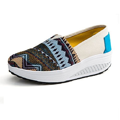 Cybling Casual Women Outdoor Athletic Exercise Tela Scarpe Da Passeggio Sportive Running Wedge Sneakers Style03