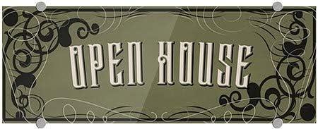 8x3 Open House CGSignLab Victorian Gothic Premium Brushed Aluminum Sign