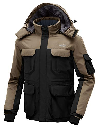 Wantdo Men's Waterproof Warm Snow Jacket Hooded Cotton Padded Winter Outwear Raincoat Windbreaker for Traveling(Black + Khaki, Small)