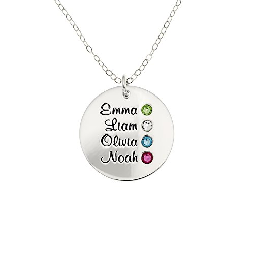 AJ's Collection Personalized Round Four Stacked Names Sterling Silver Necklace With Birthstone Setting. Customize a Round Charm. Choice of Sterling Silver Chain For All. Makes Great Birthday Gift. - 4 Four Sterling Silver Charm