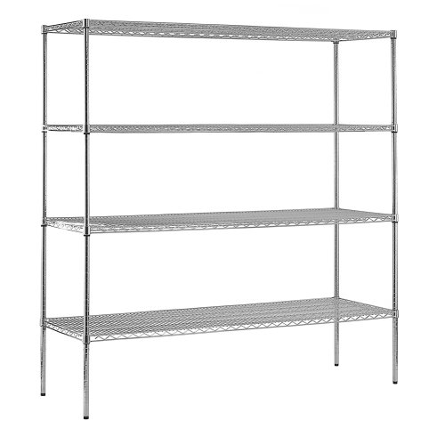 Sandusky WS721874-C Chrome Steel Heavy Duty Adjustable Wire Shelving, 2400 lbs Capacity, 72