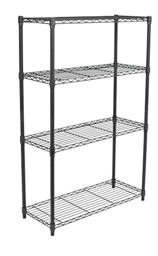 Review Internet's Best 4-Tier Wire Shelving | Flat Black | Heavy By Internet's Best by Internet's Best