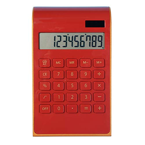 Calculator,10 Digit Solar Dual Power Calculator, Standard Function Home and Office Electronics Desktop Calculator,Tilted LCD Display Slim Design Handheld Calculator(Red)